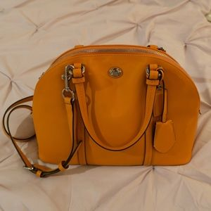 Coach Peyton Leather Cora Domed Satchel Tangerine